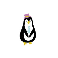 Vector illustration with penguin in flat style