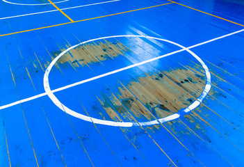 old wooden basketball court floor