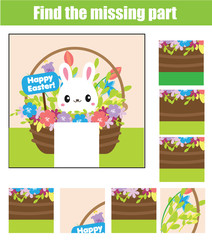 Puzzle for toddlers. Matching children educational game. Match pieces and complete the picture. Activity for pre school years kids. Easter theme