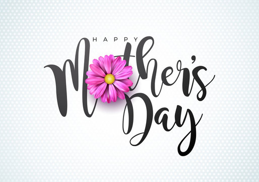 Happy Mothers Day Greeting card illustration with flower and typographic design on white background. Vector Celebration Illustration template for banner, flyer, invitation, brochure, poster.