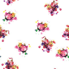 Seamless pattern of New Year's toys - watercolor sketch