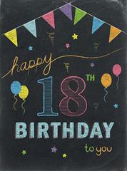 HAPPY 18th BIRTHDAY Chalkboard Card