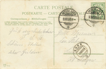 Swiss old postcard. 1905. Stamp detailed. Close up