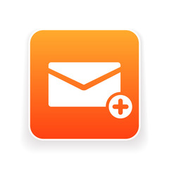 Email icon with add sign. Email icon and new, plus, positive concept