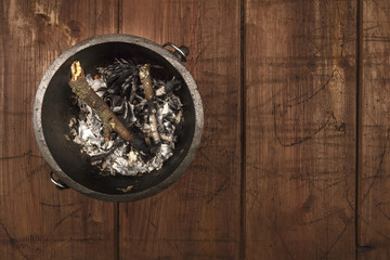 Overhead photo of witch's cauldron