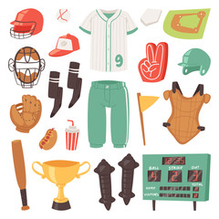 Baseball vector catchers sportswear and batters baseballbat or ball for competition on field illustration set of sportsman clothes with catchers glove in isolated on white background