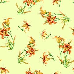 Seamless pattern of lilies painted in watercolor.