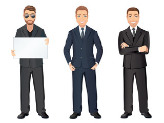 Business man in suit in different poses. Confident handsome man, full length, dress code. Flat design, vector cartoon illustration