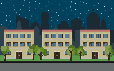 Vector city with three three-story cartoon houses and green trees at night. Summer urban landscape. Street view with cityscape on a background