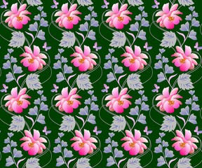 Cosmos and bell flowers garlands in watercolor style on dark green background. Seamless natural print for fabric, wallpaper. Summer romantic pattern.