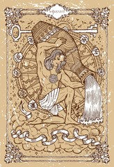 Vector Fantasy Zodiac sign Aquarius in gothic frame on texture. Hand drawn engraved illustration