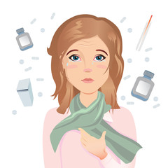 Young woman has an allergy, itching eyes, red eyes, watery eyes, tears. / Flat design, vector cartoon illustration