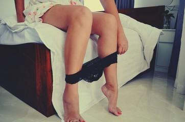 Beautiful female legs with panties.