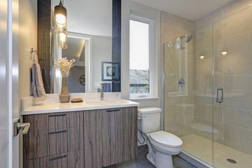 New luxury bathroom in grey tones