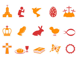 orange and red color easter day icons set