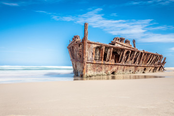 Acrylic Prints Shipwreck ship wreck on fraser island, Australia