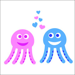 Cute cartoon couple of octopuses. Vector illustration isolated on white background.