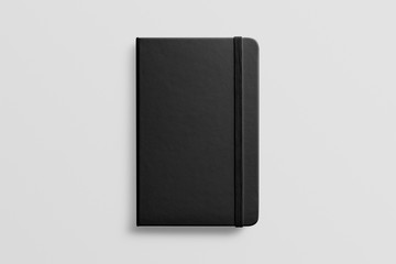 Photorealistic black leather notebook mockup on light grey background, front view.