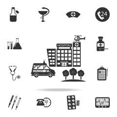 Hospital building, medical illustration icon. Detailed set of medicine element Illustration. Premium quality graphic design. One of the collection icons for websites, web design