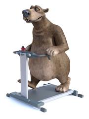 3D rendering of cartoon bear exercising on treadmill.