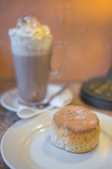 Scone with Hot chocolate in the cafe