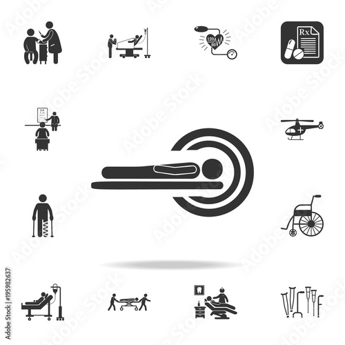 A patient in CT Scan Icon  Detailed set of medicine element