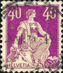 Old swiss postage stamp. Close up