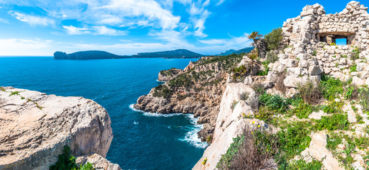 Tuinposter Kust Panoramic landscape of Sardinian coast in a sunny day of spring