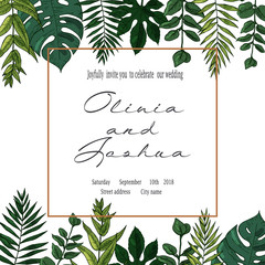 Vector wedding invite invitation save the date floral card design. Green fern, forest leaves herbs, greenery plant mix.