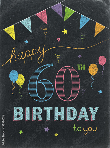 HAPPY 60th BIRTHDAY Chalkboard Card