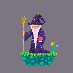 Pixel art old wizard.