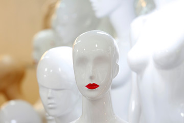 Mannequins are displayed for sale at a shop in Hanoi