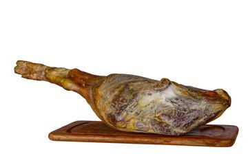 leg of spanish serrano ham isolated on a white background