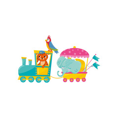 Cartoon animals characters traveling by train. Cute orange tiger, big blue elephant and parrot with colorful feathers. Flat vector design for toy store or mobile game