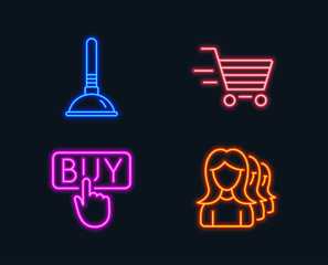 Neon lights. Set of Delivery shopping, Buying and Plunger icons. Women headhunting sign. Online buying, E-commerce shopping, Clogged pipes cleaner. Women teamwork.  Glowing graphic designs. Vector