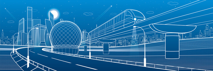 Wall Mural - Monorail railway and illuminated highway. Transportation urban illustration. Skyline modern city at background. Business buildings. Night town. White lines on blue background. Vector design art