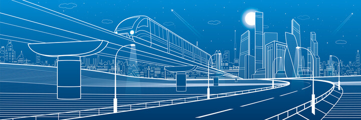 Fotomurales - Monorail railway and illuminated highway. Transportation urban illustration. Skyline modern city at background. Business buildings. Night town. White lines on blue background. Vector design art