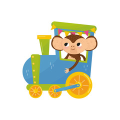 Funny tropical monkey on colorful train. Cartoon character of wild animal with big ears. Cute flat vector design for postcard, book or children s room decor