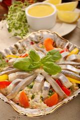 Easter herring salad with lemon dip