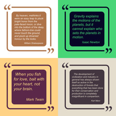 Old quotes of famous people. Four color options. Text in colored rectangle with rounded edges.