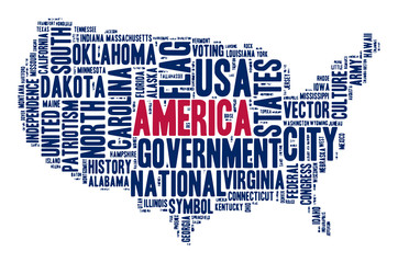 United States of America. Cloud of words in contour of America.  Word of various sizes on the topic of government, politics, history, and other American symbols.