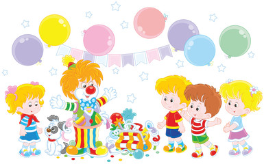 Friendly smiling circus clown in a colorful suit with his pup, toys and balloons playing with small children, a  vector illustration in a cartoon style