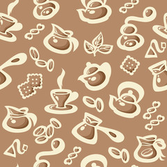 Breakfast seamless pattern with coffee and tea elements. Suitable for wallpaper, wrapping or textile