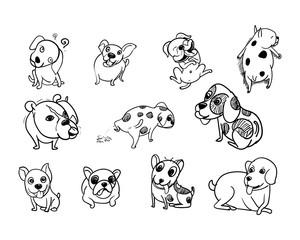 Drawing doodle set of dog on white background