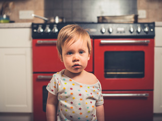 Little boy in kitchen by the stove