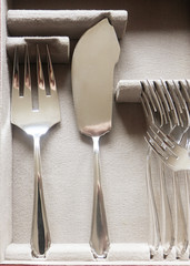 Beautiful vintage silver fish cutlery, detail of  server flatware and forks