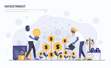 Flat Modern Concept Illustration - Investment