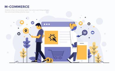 Flat Modern Concept Illustration - M-Commerce