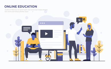 Flat Modern Concept Illustration - Online Education