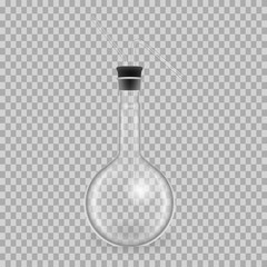Scientific glassware, test tubes. Realistic templates round flask, mockup.